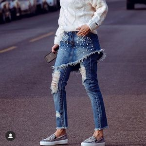 Liquor N Poker Pearl Jeans With Layered Skirt UK6